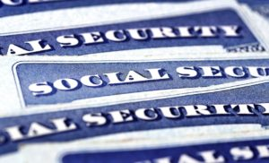 Closeup detail of several Social Security Cards